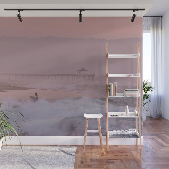 Manhattan Beach Surfer At Sunset Wall Mural By Travelwithme Society6