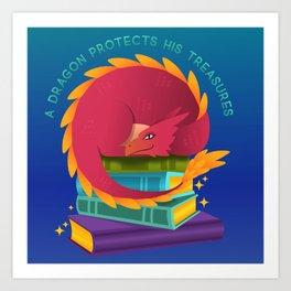 A Dragon Protects His Treasure blue version Art Print