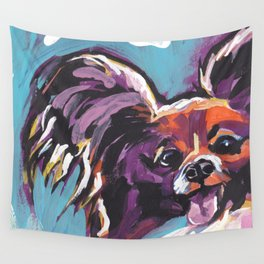 Fun Papillon portrait Dog bright colorful Pop Art Wall Tapestry