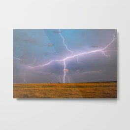 Electric Sky - Lightning Spans Entire Sky in Southern Oklahoma Metal Print