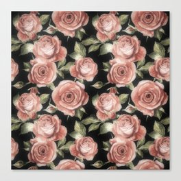 Classic Pink Roses On Black Canvas Print