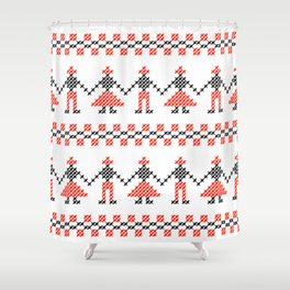 Traditional Romanian dancing people cross-stitch motif white Shower Curtain