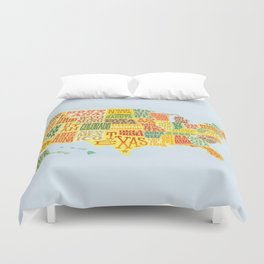 United States of America Map Duvet Cover