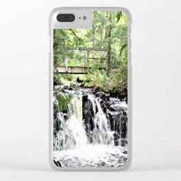 Bridge Over Waterfall Clear iPhone Case