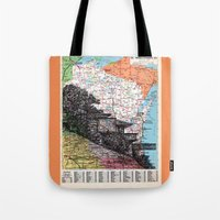wisconsin Tote Bags featuring Wisconsin by Ursula Rodgers