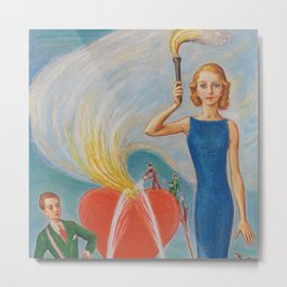 I Heart You In Flames; True Love Surrealism portrait painting by Nils Dardel Metal Print