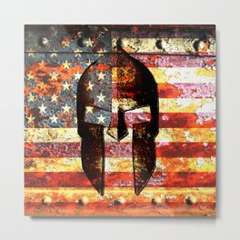 American Flag And Spartan Helmet On Rusted Metal Door - Molon Labe Metal Print