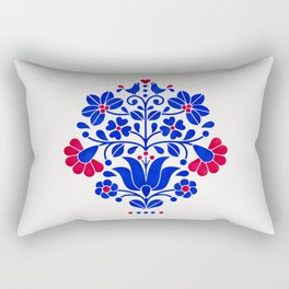 Folk flowers in blue and red Rectangular Pillow