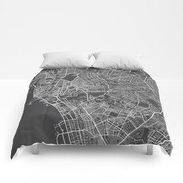 Manila Map, Philippines - Gray Comforters