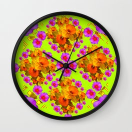 Chartreuse Color Golden Daffodil Rose Art Wall Clock