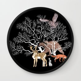 Print with forest animals and tree. Wall Clock