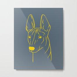 Xoloitzcuintli (Blue-Gray and Yellow) Metal Print