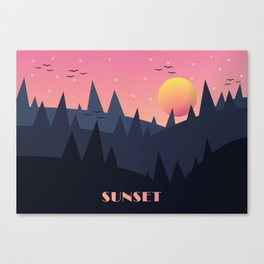 Sunset Landscape Illustration (Blue) Canvas Print