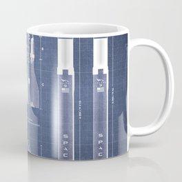 NASA SpaceX Crew Dragon Spacecraft & Falcon 9 Rocket Blueprint in High Resolution (dark blue) Coffee Mug