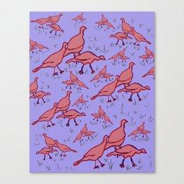Wild Turkeys Lilac Canvas Print