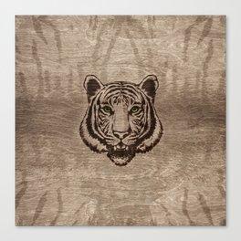 Tiger  pyrograph on wood Canvas Print