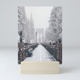 New York City and Brooklyn Bridge Winter/Christmas Mini Art Print