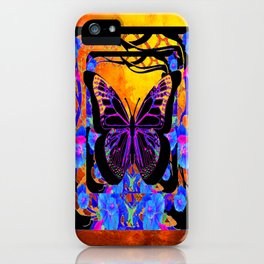 Surreal Black Butterfly World Blue-Golden  Floral iPhone Case