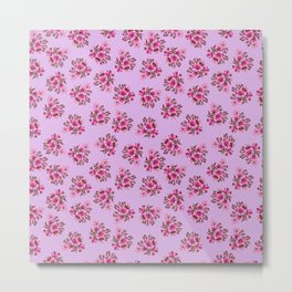 Bright Vintage Floral in Pink Metal Print