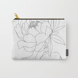 Minimal Line Art Woman Flower Head Carry-All Pouch