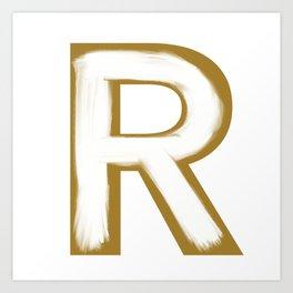 Minimalist Gold R White Stroke Art Print