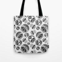 sugar skulls Tote Bags featuring SUGAR SKULLS by Kiley Victoria
