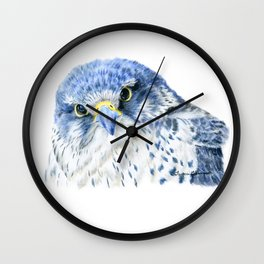 """""""Here's Looking At You"""" painting of a Gyrfalcon by Teresa Thompson Wall Clock"""