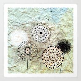 dandelions on the wrinkled paper Art Print