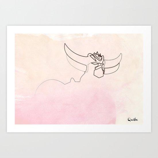 One line Goldorak/Grendizer Art Print