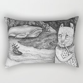The Whale, The Castle & The Smoking Cat Rectangular Pillow
