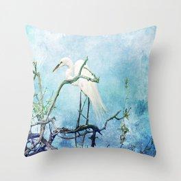 Rookery White Egret Throw Pillow