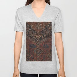 Boho Chic Dark VII // 17th Century Colorful Medallion Red Blue Green Brown Ornate Accent Rug Pattern Unisex V-Neck