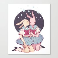 bunnies Canvas Prints featuring Bunnies by Sophie L