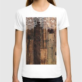 rustic country farmhouse chic vintage lace barnwood T-shirt