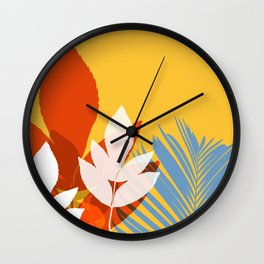 Leaves silhouette in orange and red Wall Clock