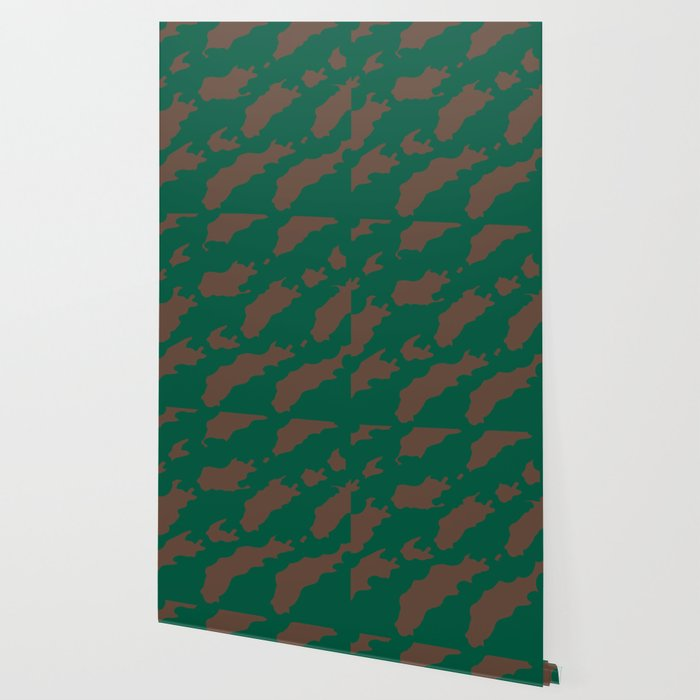 Octerson Green Brown Camouflage Army Pattern Wallpaper