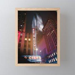 Night Streets of Manhattan New York Framed Mini Art Print