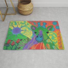 Whimsical Abstract Giraffe in Jewel Tone Colors Green Aqua Purple Blue Yellow Rug