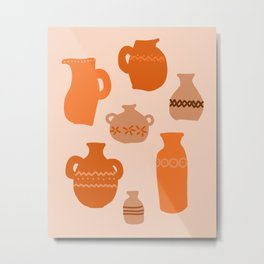 Decorated terracotta vases collection Metal Print
