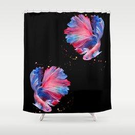 Betta Splendens Fish - Black Background Shower Curtain