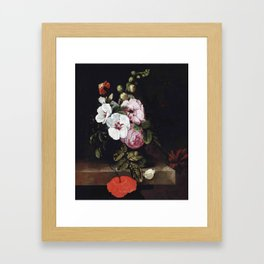 "Cornelis Kick ""Roses, poppies, hollyhocks, a marigold and other flowers"" Framed Art Print"