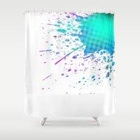 splatter Shower Curtains featuring Splatter by pinkundaztood