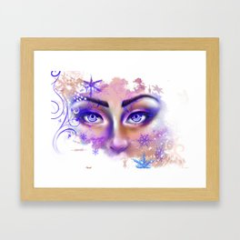 snow beautiful winter snowflakes eyes girl Framed Art Print