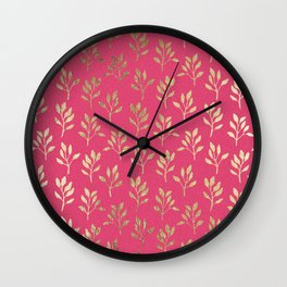 Elegant faux gold neon pink modern floral illustration Wall Clock