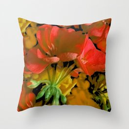 Coral Floral  & Black Pattern Throw Pillow