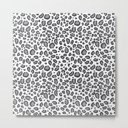 Cheetah pattern animal spots animal print pattern minimal black and white Metal Print