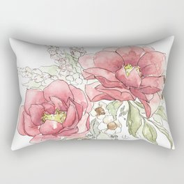Watercolor Flowers - Garden Roses Rectangular Pillow