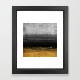 Black and Gold grunge stripes on modern grey concrete abstract background - Stripe -Striped Framed Art Print