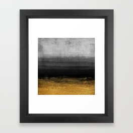 Black and Gold grunge stripes on modern grey concrete abstract background - Stripe -Striped Framed Art Print