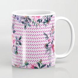 Pink Floral and Herringbone Pattern Coffee Mug